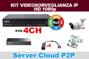 KIT VIDEOCONTROLLO IP 2Mpx