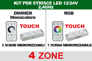 Controller e Dimmer 4 Zone 2,4GHz per Strip LED